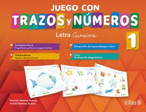 JUEGO CON TRAZOS Y NUMEROS 1. LETRA CURSIVA